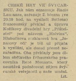 České hry ve Švýcarsku. In Náš rozhlas 9-1948, 29. 2. 1948, s. 6