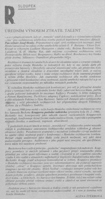 Štěrbová, Alena - Úředním výnosem ztratil talent (6-1990)