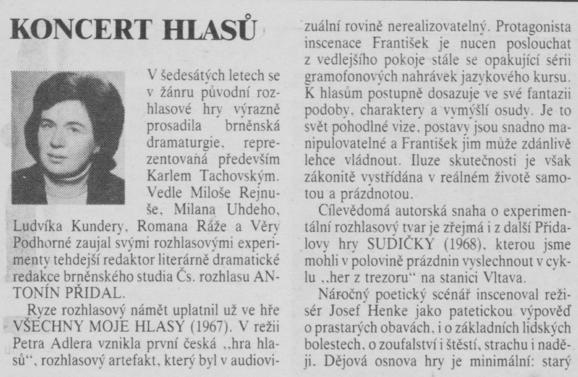 Štěrbová, Alena - Koncert hlasů. In Scéna 20-1990