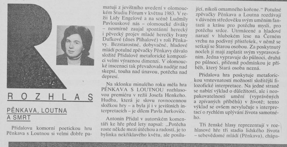 Štěrbová, Alena - Pěnkava, Loutna a Smrt. In Scéna 3-1991, s. 6