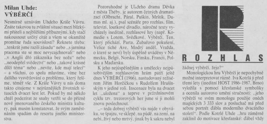 Štěrbová, Alena - Výběrčí 1. In Scéna 19-1990
