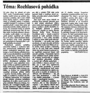Šulc, Viktorín - Téma Rozhlasová pohádka. In Scéna, 26. 11. 1984 (č. 24), s. 5