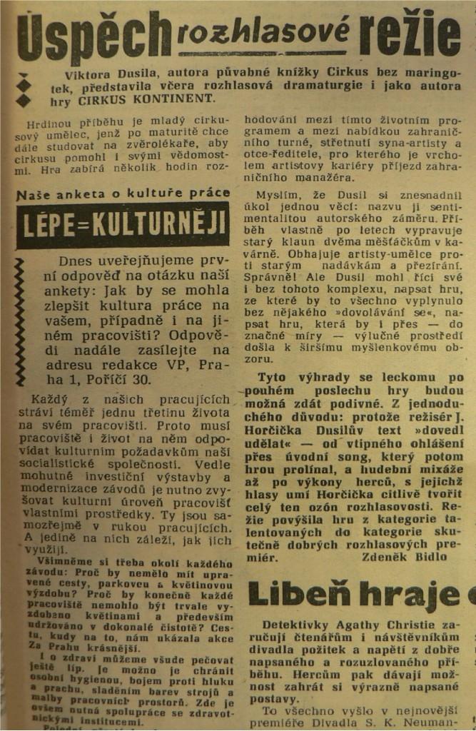 Bidlo, Zdeněk - Úspěch rozhlasové režie. In Večerní Brno 7-1961 (1961-01-07)