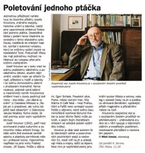 Doležal, Miloš - Poletování jednoho ptáčka. In Týdeník Rozhlas, červen 2018 (článek).