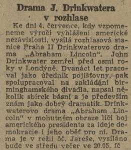 Drama J. Drinkwatera v rozhlase. In Práce 48-1945
