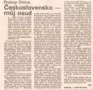 Drtina - Československo, můj osud. TR 1991-07