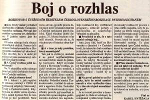 Duhan, Peter - Boj o rozhlas. Mladá fronta Dnes, 24.01.1992