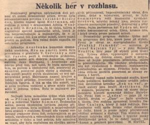 Havel, Miloslav - Několik her v rozhlasu. In Národní listy, 11. 1. 1940, s. 3 (recenze).
