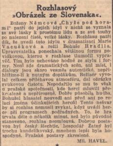 Havel, Miloslav - Rozhlasový Obrázek ze Slovenska. In Národní listy, 16. 1. 1940, s. 3 (recenze).