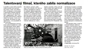Hertl, David - Talentovaný filmař, kterého zabila normalizace. In Týdeník Rozhlas, červen 2018 (článek).