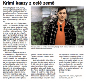Kočík, René - Krimi kauzy z celé země. In Týdeník Rozhlas 14-2018