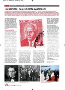 Macháček, Michal - Rozpomínání na prezidenta zapomnění. In Týdeník Rozhlas 19-2018, s. 8 (článek).