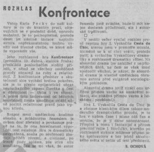 Ochová, Sheila - Rozhlas. Konfrontace. In Rudé právo 18. 4. 1968 (recenze).