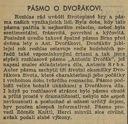 Pásmo o Dvořákovi. In Venkov 36, 1941, 28.8., č. 202, s. 2