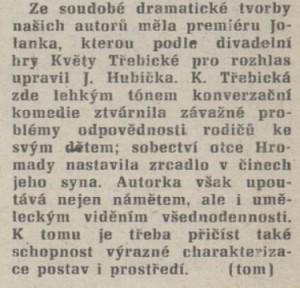 Rozhlas. In Tvorba 1-1977 (5. 1. 1977), s. 20 (recenze)2