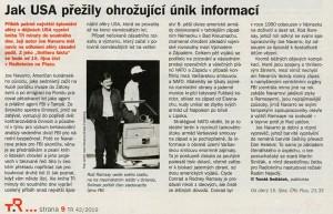 Sedláček, Tomáš - Jak USA přežily ohrožující únik informací. In Týdeník Rozhlas, říjen 2019