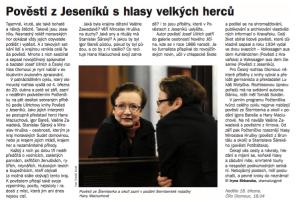 Shkaruba, Iryna - Pověsti z Jeseníků s hlasy velkých herců. In Týdeník Rozhlas 14-2018 (článek).