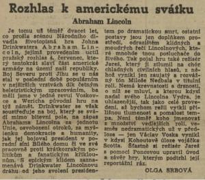 Srbová, Olga - Rozhlas k americkému svátku. Abraham Lincoln. In Práce, 6. 7. 1945, s. 5 (recenze)