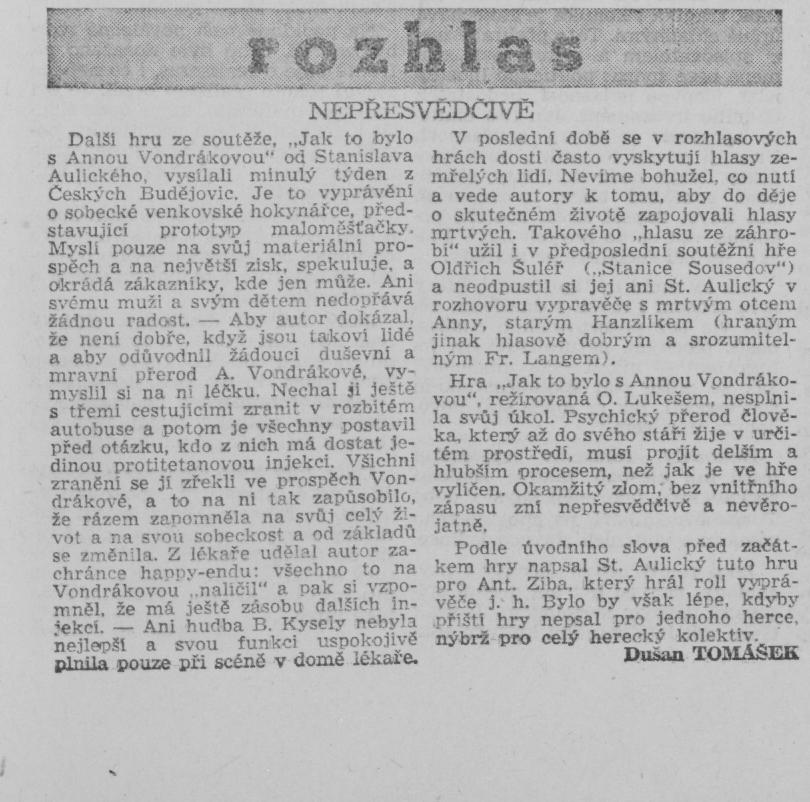 Tomášek, Dušan - Nepřesvědčivě. Kulturni politika 4 1949 7 7