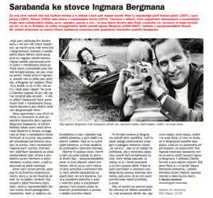 Venclová, Renata - Sarabanda ke stovce Ingmara Bergmana. In Týdeník Rozhlas, červenec 2018 (článek).