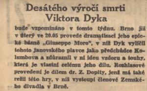 anonym - Desáté výročí smrti Viktora Dyka. In Národní listy, 13. 5. 1941 (anotace).