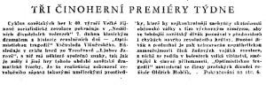 anonym - Tři činoherní premiéry týdne. In Československý rozhlas 14-1957, s. 3