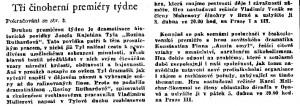 anonym - Tři činoherní premiéry týdne. In Československý rozhlas 14-1957, s. 5