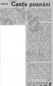 -hj- (= Holý, Josef) - Rozhlas. Cesta poznání. In Rudé právo, 7. 9. 1976, s. 5 (recenze).